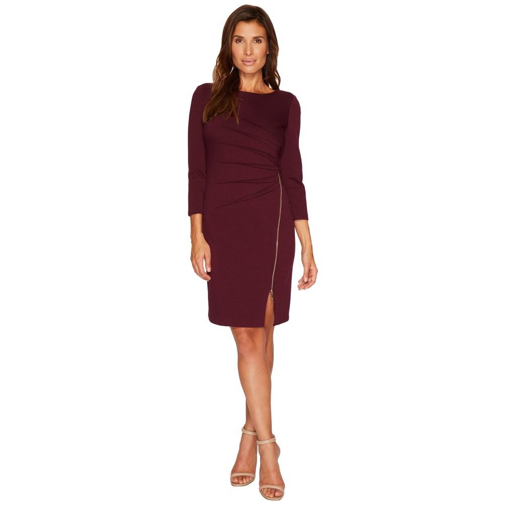 イヴァンカ トランプ レディース ワンピース・ドレス ワンピース【Ponte Startburst Zipper Long Sleeve Dress】Malbec