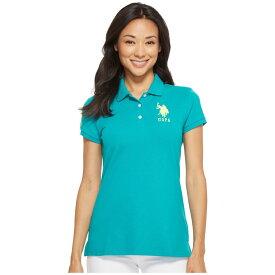 ユーエスポロアッスン レディース トップス ポロシャツ【Neon Logos Short Sleeve Polo Shirt】Isola Turquoise