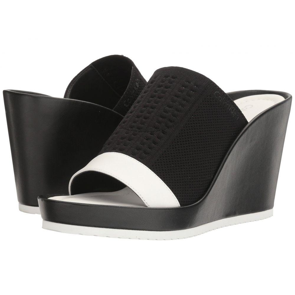 カルバンクライン レディース シューズ・靴 サンダル・ミュール【Hazel】Black/Plat White Stretch Knit