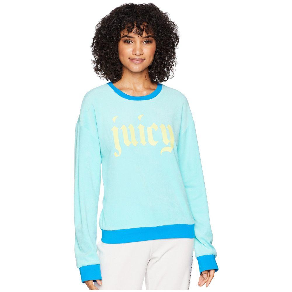 ジューシークチュール レディース トップス スウェット・トレーナー【Pullover Sweatshirt w/ Gothic Juicy Logo】Aruba Blue