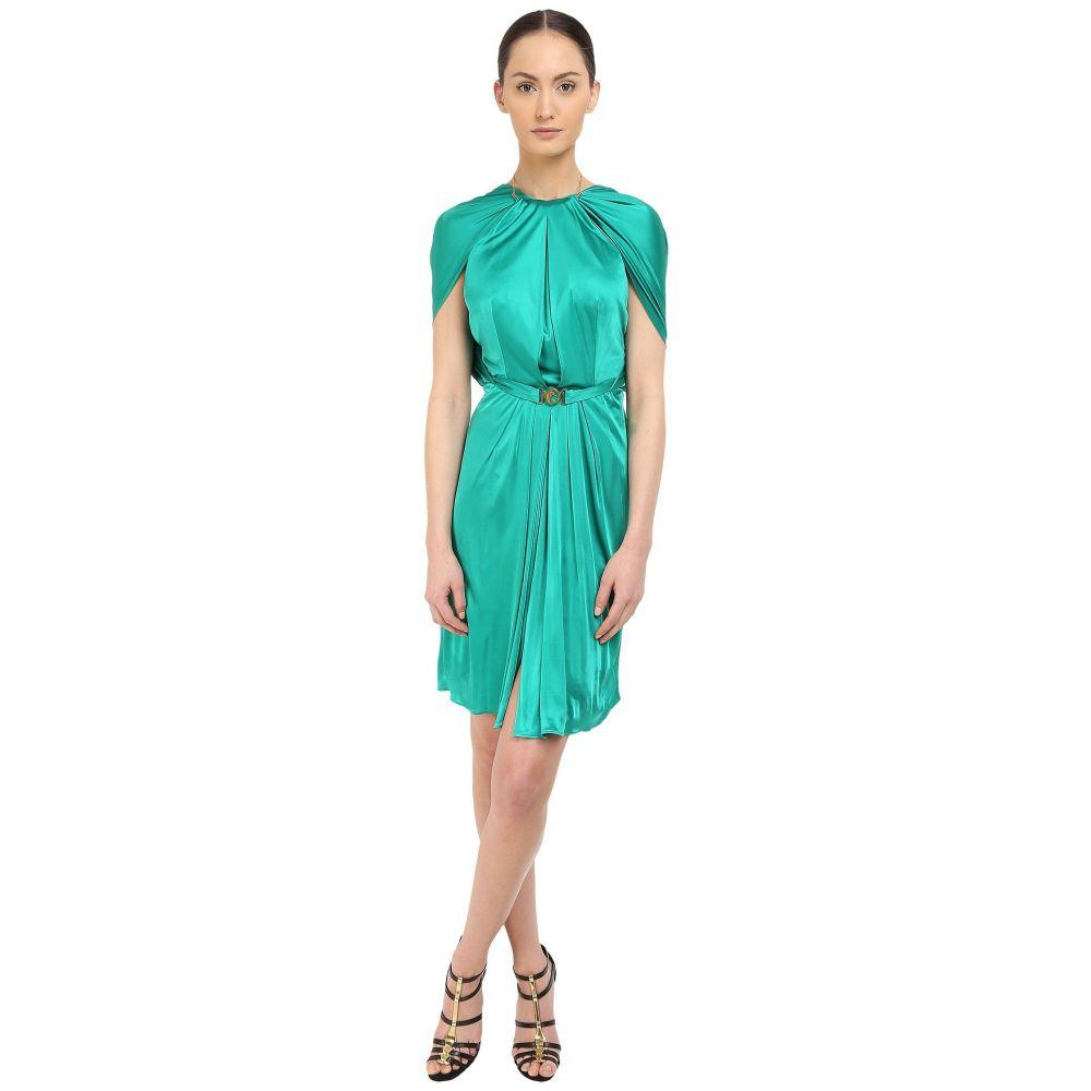 ヴェルサーチ レディース ワンピース・ドレス ワンピース【Emerald Satin Halter Dress w/ Chain Detail】Green