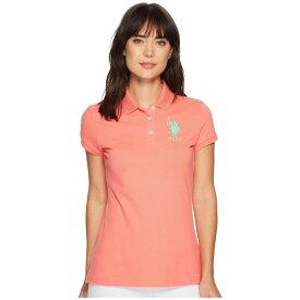 ユーエスポロアッスン U.S. POLO ASSN. レディース トップス ポロシャツ【Neon Logos Short Sleeve Polo Shirt】Sugar Coral