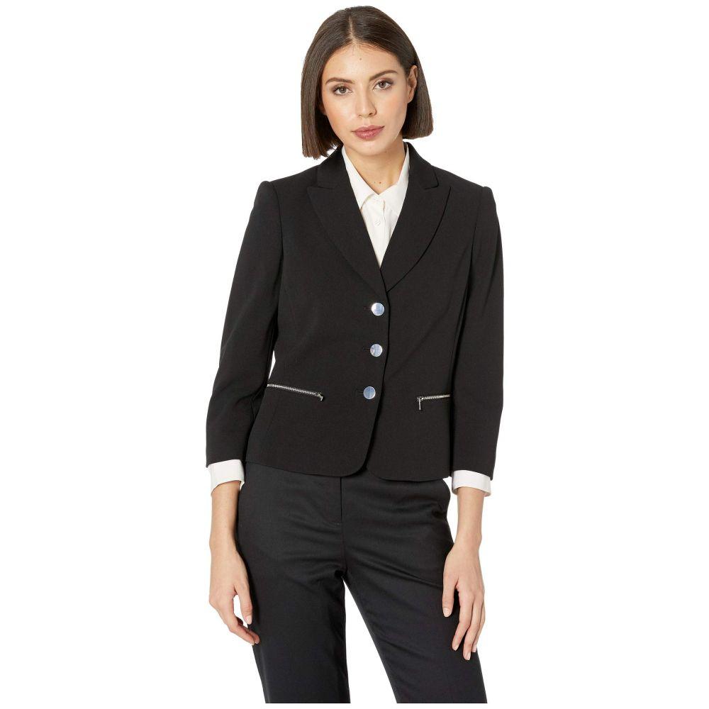 カルバンクライン Calvin Klein レディース アウター スーツ・ジャケット【Three-Button Zip Pocket Jacket】Black