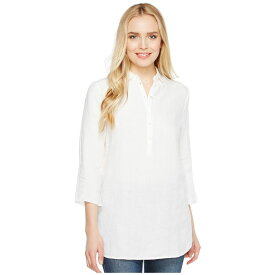 スリードッツ Three Dots レディース トップス チュニック【Long Sleeve Tunic w/ Front Buttons】White