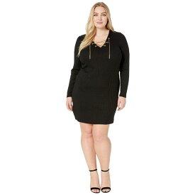 マイケル コース MICHAEL Michael Kors レディース ワンピース・ドレス ワンピース【Plus Size Rib V-Neck Puff Sleeve Dress】Black