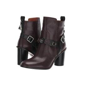 コーチ COACH レディース シューズ・靴 ブーツ【Moto Bootie Heel - Tea Rose Leather】Oxblood/Black