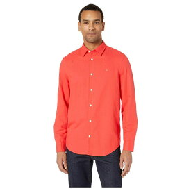 カルバンクライン Calvin Klein メンズ トップス シャツ【Long Sleeve Cotton Linen Button Down Shirt】High Risk Red