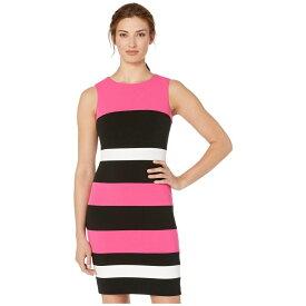 トミー ヒルフィガー Tommy Hilfiger レディース ワンピース・ドレス ワンピース【Color Block Stripe Sheath Dress】Hot Pink/Black/Ivory