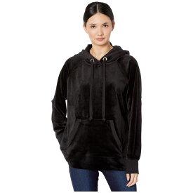 ジューシークチュール Juicy Couture レディース パーカー トップス【Track Luxe Velour Hooded Pullover】Pitch Black