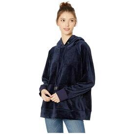 ジューシークチュール Juicy Couture レディース パーカー トップス【Luxe Velour Hooded Pullover】Royal Navy