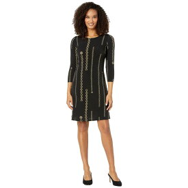 トミー ヒルフィガー Tommy Hilfiger レディース ワンピース ワンピース・ドレス【Chain Reaction A-Line Dress】Black/Gold