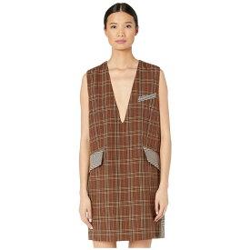 メゾン マルジェラ MM6 Maison Margiela レディース ワンピース シフトドレス ワンピース・ドレス【Suiting Shift Dress】Mix Brown Checks