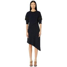メゾン マルジェラ MM6 Maison Margiela レディース ワンピース ワンピース・ドレス【Asymmetrical Hem Sweater Dress】Dark Blue Striped/Black