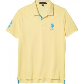 ユーエスポロアッスン U.S. POLO ASSN. メンズ ポロシャツ トップス【Slim Fit Big Horse Polo w/ Stripe Collar】Byview Yellow/Coastlazr