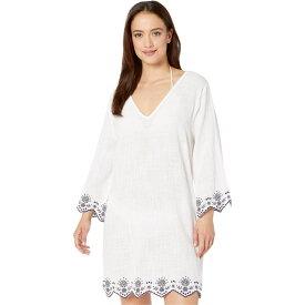 ドッティ DOTTI レディース ビーチウェア Vネック 水着・ビーチウェア【Rosemary Embroidery V-Neck Caftan Cover-Up】White