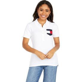 トミー ヒルフィガー Tommy Hilfiger レディース ポロシャツ 半袖 トップス【Short Sleeve Flag Pocket Polo】Bright White