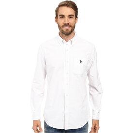 ユーエスポロアッスン U.S. POLO ASSN. メンズ シャツ ワイシャツ トップス【Long Sleeve Classic Fit Solid Oxford Cloth Button Down Sport Shirt】Optic White