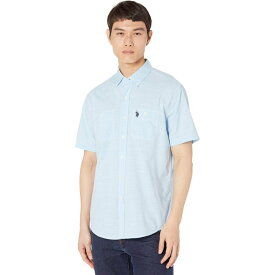 ユーエスポロアッスン U.S. POLO ASSN. メンズ 半袖シャツ トップス【Short Sleeve EOE Slub Two-Pocket Woven Shirt-ZW】Flip-Flop Blue