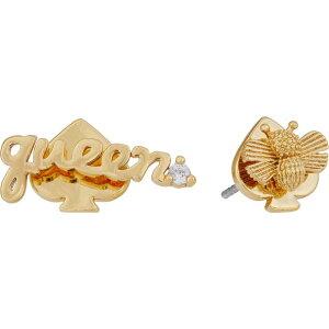 ケイト スペード Kate Spade New York レディース イヤリング・ピアス ジュエリー・アクセサリー【Love You Mom Queen Bee Asymmetrical Studs Earrings】Clear/Gold