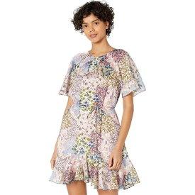 テッドベーカー Ted Baker レディース ワンピース ミニ丈 ワンピース・ドレス【Lalu Urban Printed Fluted Hem Mini Dress】Light Pink