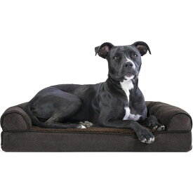 FurHaven ファーヘイヴン ペットグッズ 犬用品 ベッド・マット・カバー ベッド【Faux Fleece Memory Top Bolster Dog Bed w/Removable Cover】Coffee