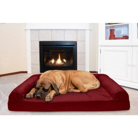 FurHaven ファーヘイヴン ペットグッズ 犬用品 ベッド・マット・カバー ベッド【Quilted Cooling Gel Bolster Cat & Dog Bed w/Removable Cover】Wine Red