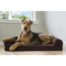 FurHaven ファーヘイヴン ペットグッズ 犬用品 ベッド・マット・カバー ベッド【Quilted Memory Top Bolster Cat & Dog Bed w/Removable Cover】Coffee