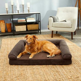 FurHaven ファーヘイヴン ペットグッズ 犬用品 ベッド・マット・カバー ベッド【Faux Fleece Cooling Gel Bolster Dog Bed w/Removable Cover】Coffee