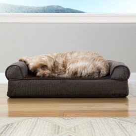 FurHaven ファーヘイヴン ペットグッズ 犬用品 ベッド・マット・カバー ベッド【Faux Fleece Orthopedic Bolster Cat & Dog Bed w/Removable Cover】Coffee