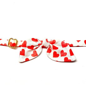 WHISKERS CRAFTS ウィスキークラフト ペットグッズ 猫用品 首輪・ハーネス・リード 首輪・カラー【Red Hearts Cat Collar with French Bow (Madethe USA)】