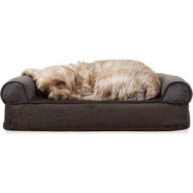 FurHaven ファーヘイヴン ペットグッズ 犬用品 ベッド・マット・カバー ベッド【Faux Fleece & Chenille Orthopedic Sofa Dog Bed】coffee