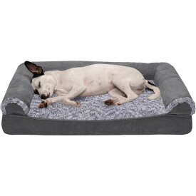 FurHaven ファーヘイヴン ペットグッズ 犬用品 ベッド・マット・カバー ベッド【Two-Tone Faux Fur & Suede Cooling Gel Sofa Dog Bed】stone gray