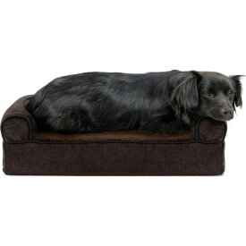 FurHaven ファーヘイヴン ペットグッズ 犬用品 ベッド・マット・カバー ベッド【Faux Fleece and Chenille Cooling Gel Memory Foam Sofa Dog Bed】coffee