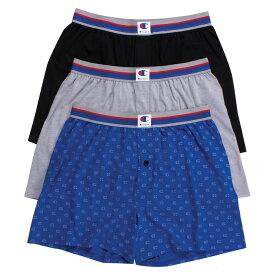 チャンピオン Champion メンズ ボクサーパンツ 3点セット インナー・下着【3 Pack Knit Boxer】Black/Blue