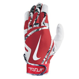ナイキ Nike ユニセックス 野球 グローブ【Trout Edge Adult Batting Glove】Red/White