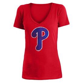 ニューエラ New Era レディース トップス Tシャツ【Philadelphia Phillies 2018 V Neck Logo Tee】Red
