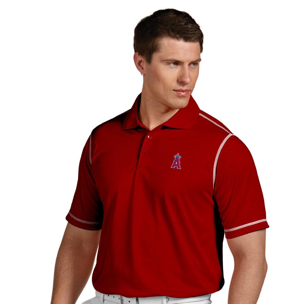 アンティグア Antigua メンズ トップス ポロシャツ【Los Angeles Angels of Anaheim Icon Pique Tonal Striped Short Sleeved Polo】Dark Red