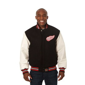 JH デザイン JH Design メンズ アウター レザージャケット【Detroit Red Wings Adult Wool Leather Jacket】Black/White