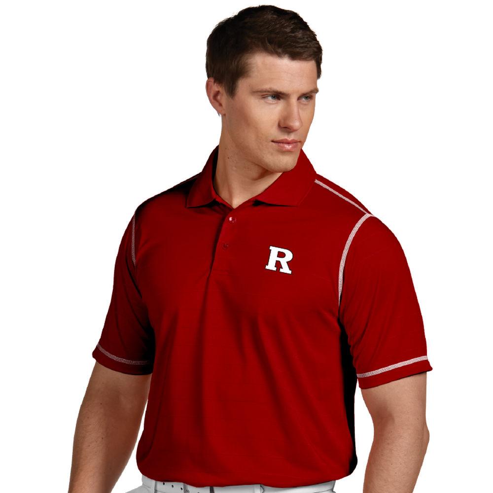 アンティグア Antigua メンズ トップス ポロシャツ【Rutgers Scarlet Knights Icon Striped Polo】Dark Red
