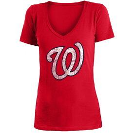 ニューエラ New Era レディース トップス Tシャツ【Washington Nationals 2018 V Neck Logo Tee】Red