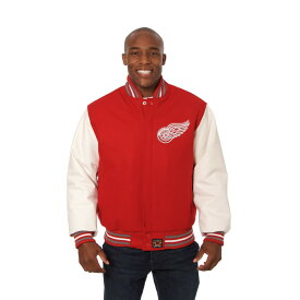 JH デザイン JH Design メンズ アウター レザージャケット【Detroit Red Wings Adult Wool Leather Jacket】Red/White