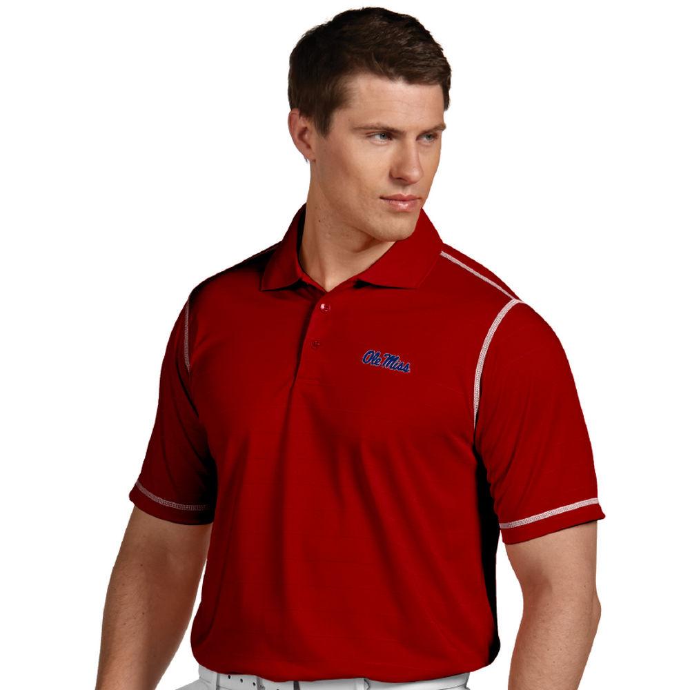 アンティグア Antigua メンズ トップス ポロシャツ【Mississippi Rebels Icon Striped Polo】Dark Red