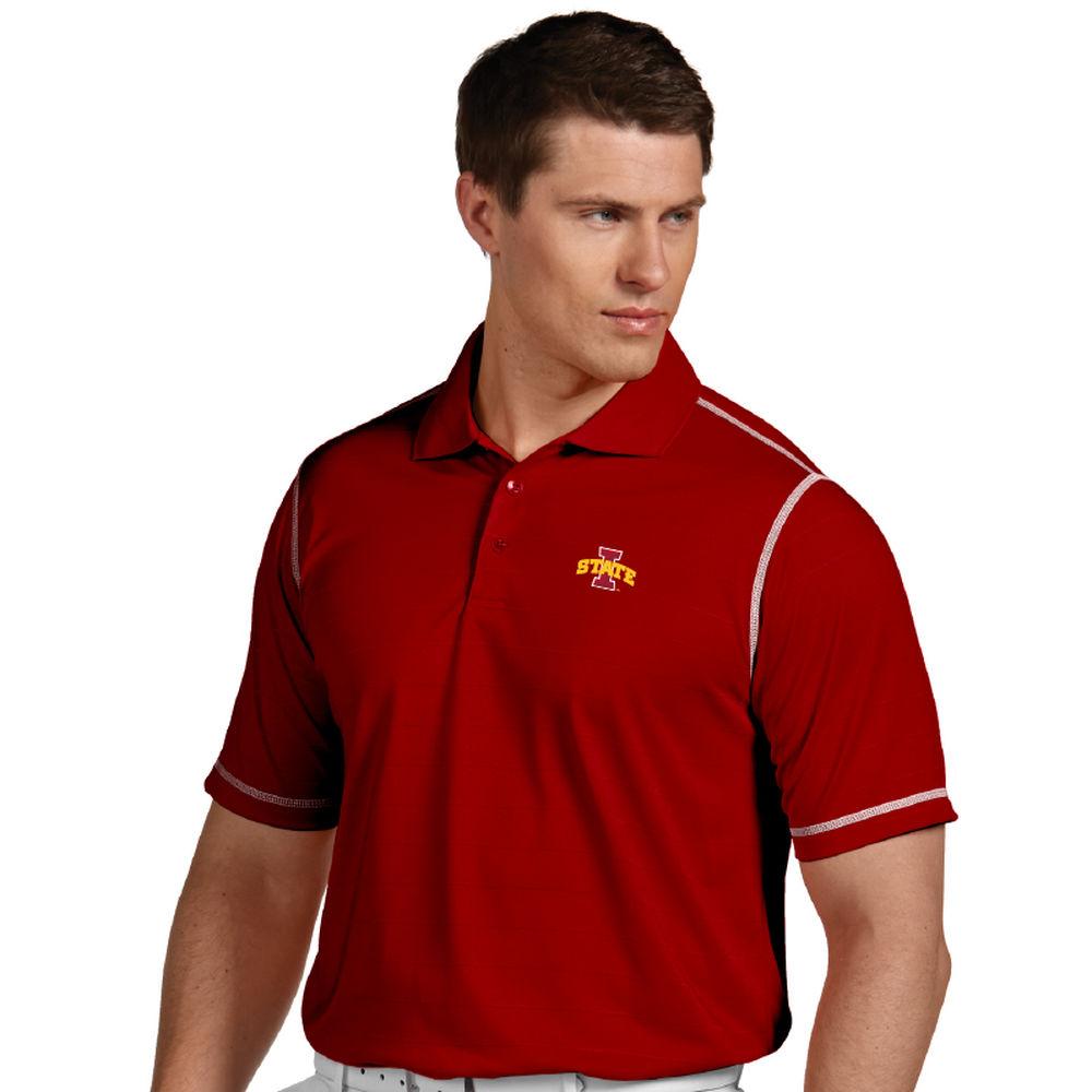 アンティグア Antigua メンズ トップス ポロシャツ【Iowa State Cyclones Icon Striped Polo】Dark Red