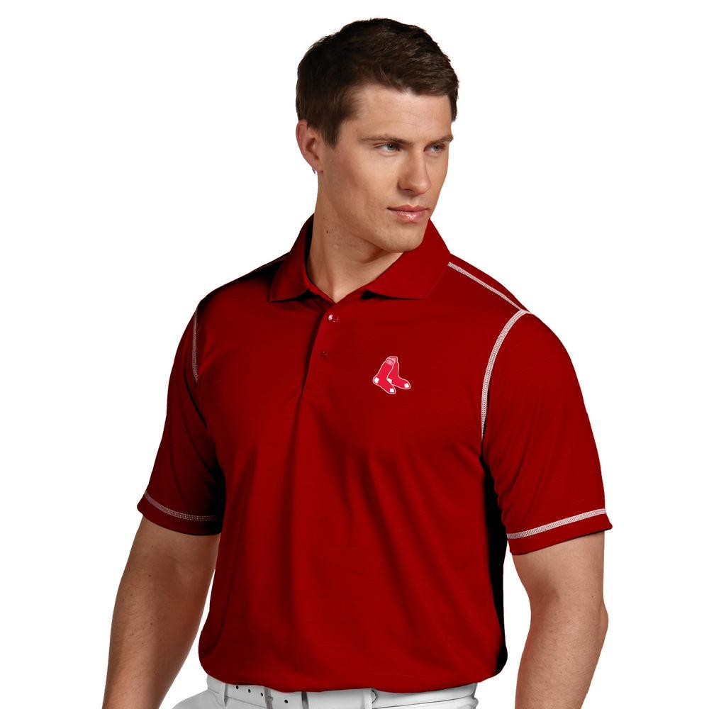 アンティグア Antigua メンズ トップス ポロシャツ【Boston Red Sox Icon Pique Tonal Striped Short Sleeved Polo】Dark Red