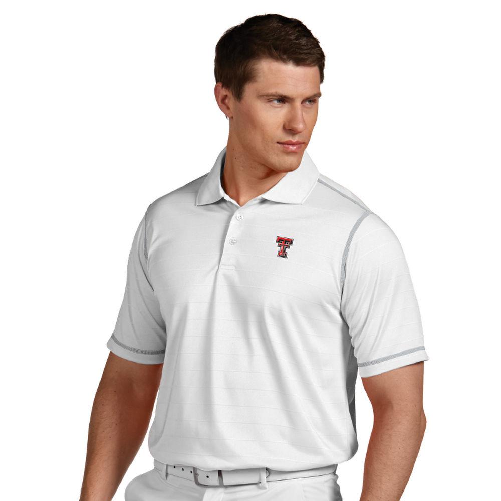 アンティグア Antigua メンズ トップス ポロシャツ【Texas Tech Red Raiders Icon Striped Polo】White/Silver