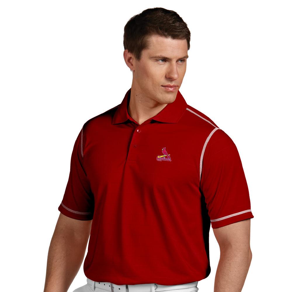 アンティグア Antigua メンズ トップス ポロシャツ【St. Louis Cardinals Icon Pique Tonal Striped Short Sleeved Polo】Dark Red