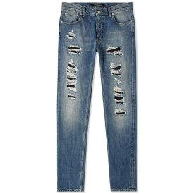 アレキサンダー マックイーン Alexander McQueen メンズ ジーンズ・デニム ダメージジーンズ ボトムス・パンツ【rip & repair slim jean】Blue Washed