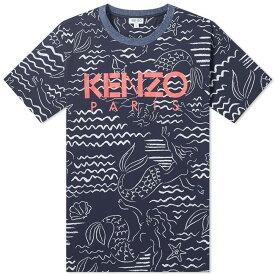 ケンゾー Kenzo メンズ Tシャツ ロゴTシャツ トップス【All Over Print Logo Tee】Midnight Blue