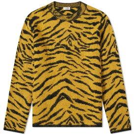 イヴ サンローラン Saint Laurent メンズ ニット・セーター トップス【zebra jacquard knit crew】Yellow/Black