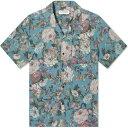 ヴァンキッシュ Vanquish メンズ 半袖シャツ トップス【Antique Flower Open Collar Shirt】Blue